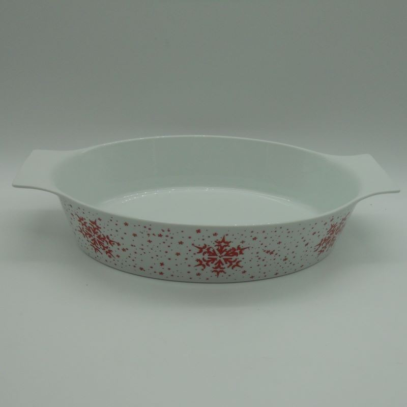 code 615564C- Porcelain oval oven tray Jingle Bell