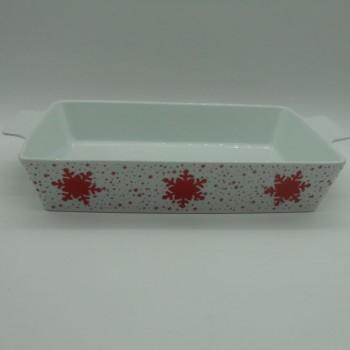 code 615563C- Porcelain rectangular oven tray Jingle Bell
