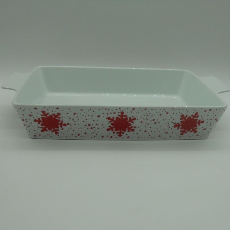 code 615563C- Porcelain rectangular oven tray Jingle Bell