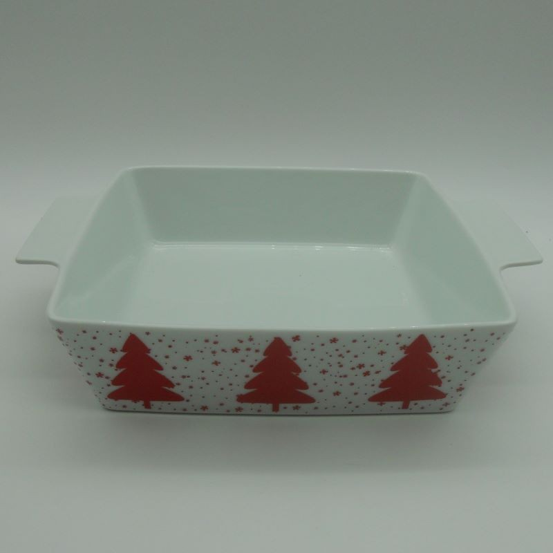 code 615562C- Porcelain square oven tray Jingle Bell