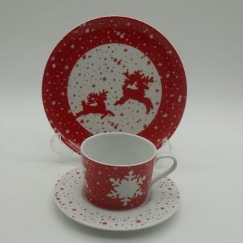 ref.615557/615553- Conjunto de chávena de chá e pires com prato de sobremesa - Jingle Bell