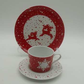 code 615557/615553-Teacup set with a matching dessert plate - Jingle Bell