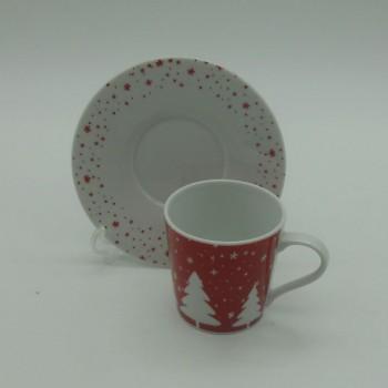 ref.615558- Chávena de café com pires - Jingle bell - conjunto de 2