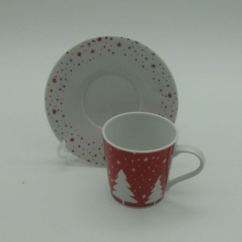 code 615558- Coffeecup and matching saucer set - Jingle bell - set of 2