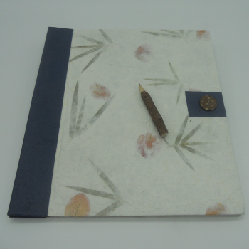 code 073615 - Blue button notebook and charcoal pencil - L