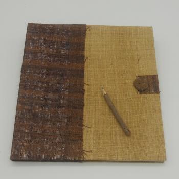 ref.073616 - Bloco notas juta bordeaux e lápis de carvão - L