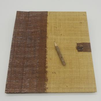 ref. 073618 - Bloco notas juta bordeaux e lápis de carvão - XL