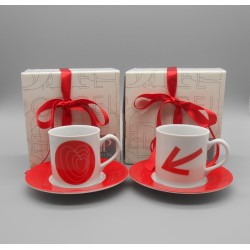 "code 900029-Valentine coffeecup and  saucer set - set of 2 - Alvo e Seta/""Target and Arrow"""