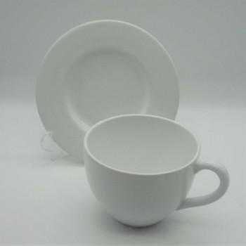 ref.800459-Conjunto de chávena de pequeno almoço com pires  - branco liso (2ª escolha)