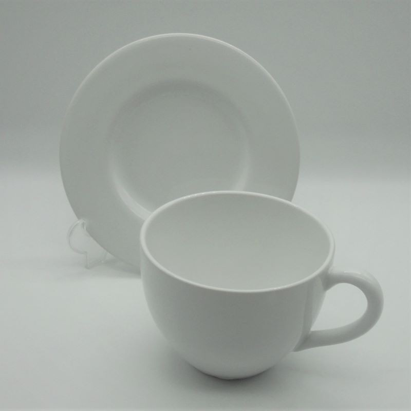 code 800459 - Breakfast cup with matching saucer set -   plain white (2nd choice)