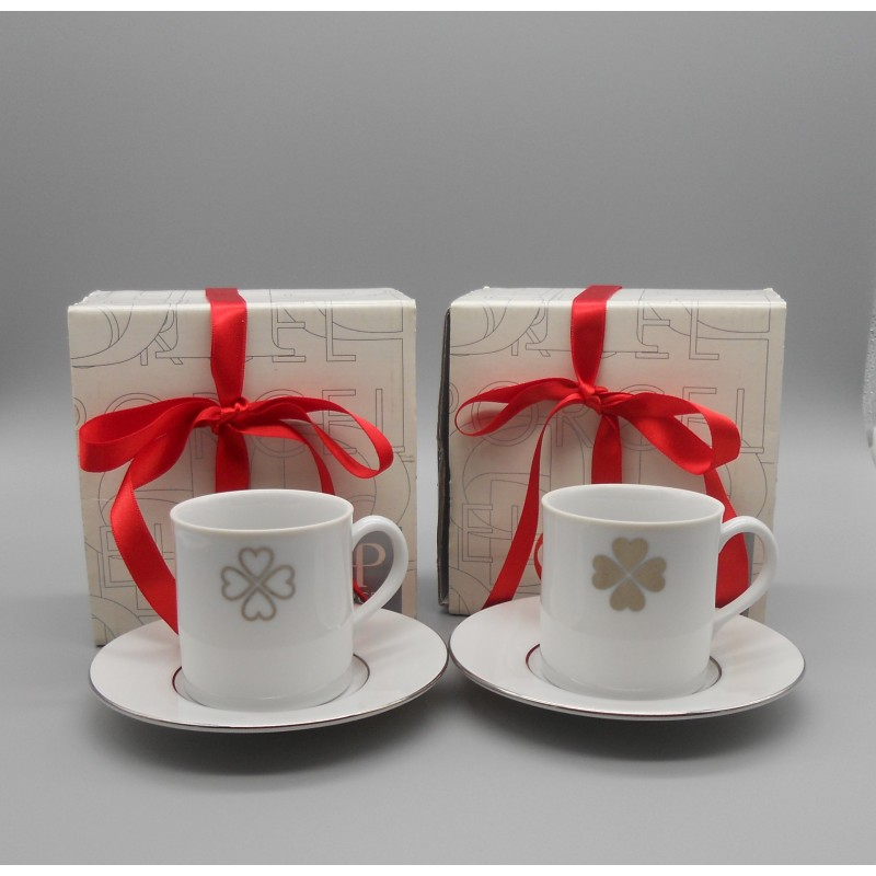 "code 900027- Valentine coffeecup and saucer set - set of 2 - /Trevo/""Clover"""
