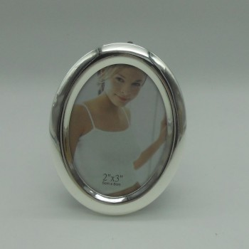 """code 030210 - Silver plated oval picture frame 2""""x3"""""""