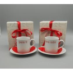 """code 900028- Valentine coffeecup and saucer set - set of 2 - Para ti e para mim/""""For you and for me"""""""