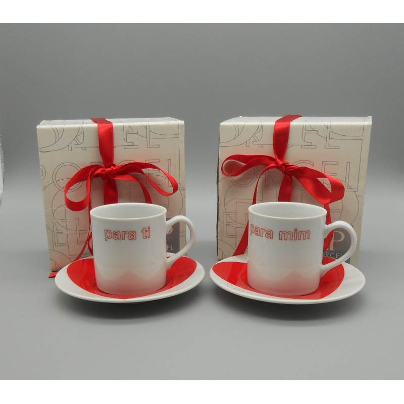 "code 900028- Valentine coffeecup and saucer set - set of 2 - Para ti e para mim/""For you and for me"""