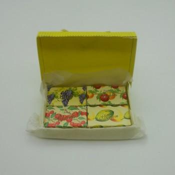 ref.048025-A/C/G/M - Mini conjunto gift de sabonetes nº3 - maçã, cerejas, uvas e melão