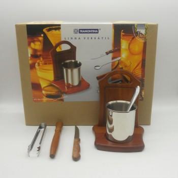 ref.070022 - Kit para caipirinha com copo em aço - 7 peças