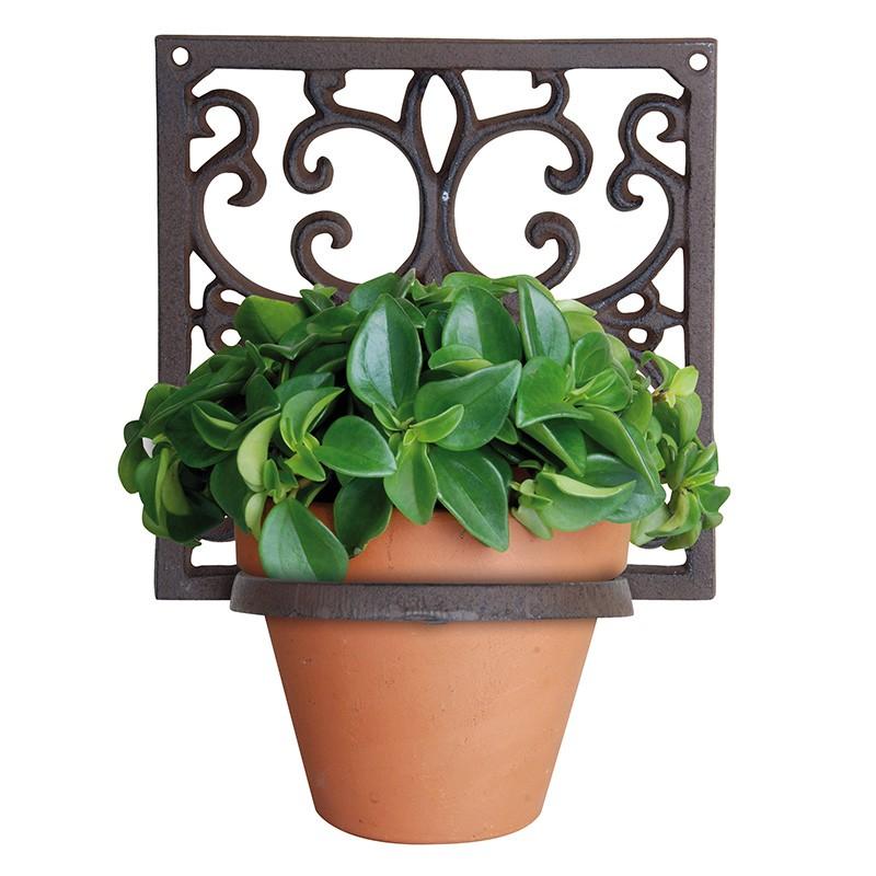 ref.DCT-BPH14 - Floreira de parede quadrada em ferro - 1 vaso