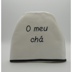 "code 050442-BR-PR-B741-White cotton tea-cosy ""O meu chá""/ ""My tea"""
