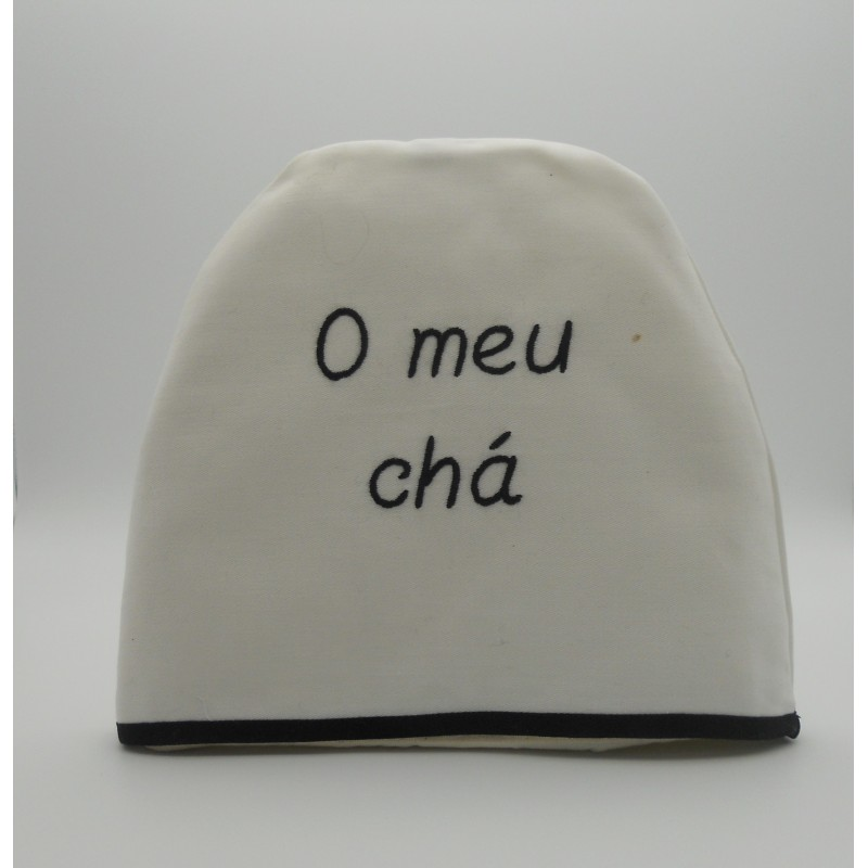 "code 050442-BR-PR-B741-White cotton tea-cosy ""O meu chá""/ ""My tea"""