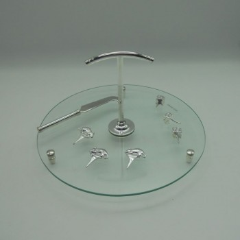 code 030069 - Glass cheese plate with silver plated markers and knife