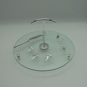 ref.030069 - Prato de queijo em vidro com marcadores e faca em casquinha