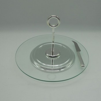 code 030070 - Glass cheese plate with silver plated handle and knife