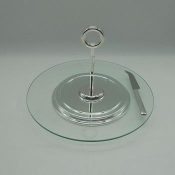 ref.030070 - Prato de queijo em vidro com pega e faca em casquinha