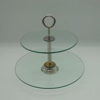 ref.003010-Prato de servir com 2 andares em vidro e pega em casquinha