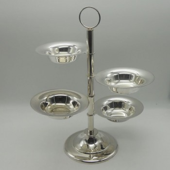 code 030089 - 4 tier silver plated serving tray