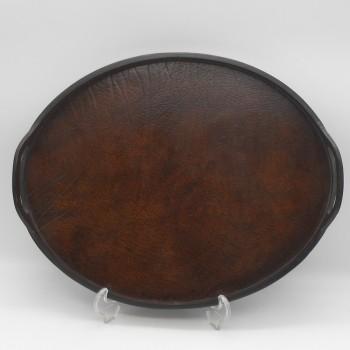 ref.072002 - Bandeja/Tabuleiro oval em pele