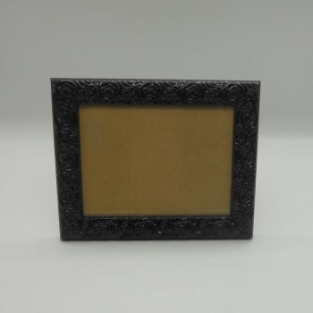 ref.070421-L-PR - Moldura flores - grande - preta - horizontal