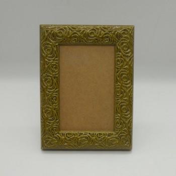 code 070421-S-VM - Flowers photo frame - Small - Moss green - vertical