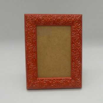 code 070421-S-ET - Flowers photo frame - Small - Brick Red - vertical