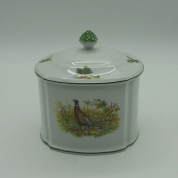 code 800057D-L-N1-V3-G - Porcelain biscuit box - jumping doe and grouse - other side