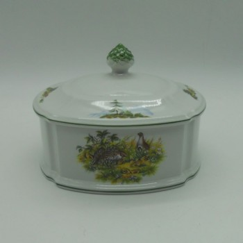 code 800064D-B-G-C1 - Porcelain box - grouse and wild rabbit - one side