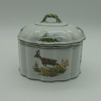 code 800064D-LB-N0-V3-C1 - copy of Porcelain box - jumping doe and wild rabbit - one side