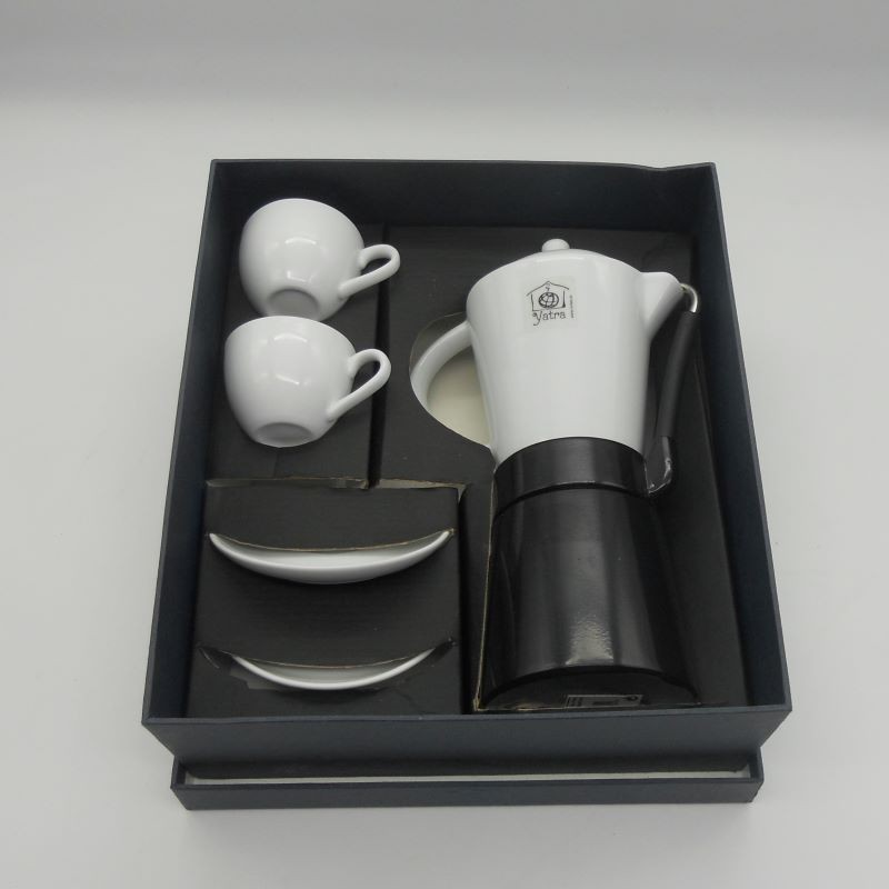 code 900021-Italian coffee pot and 2 coffeecups and matching saucers