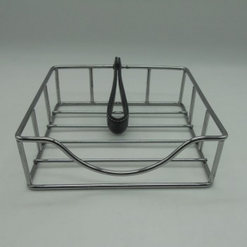 code 030077-PR - Chrome napkin holder with a leather handle - black