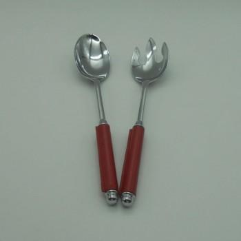 ref.030081-EV - Talher salada cromado com cabos em pele - vermelha