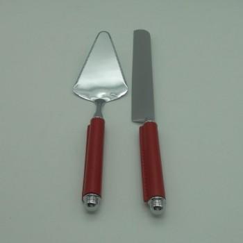 code 030082-EV - Chrome cake serving set with redleather handles