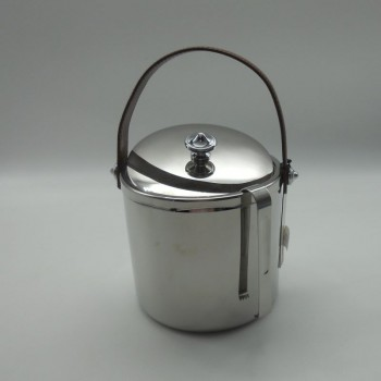 code 030078-CT - Ice bucket with tongs - brown leather handle