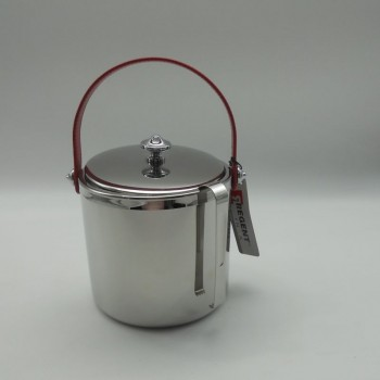 code 030078-EV - Ice bucket with tongs - red leather handle