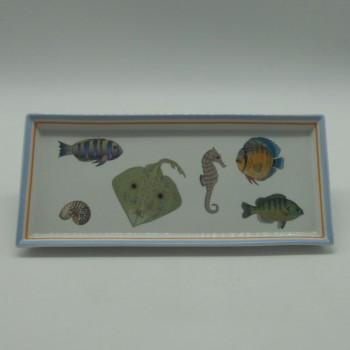 "code 040020 - Rectangular decorative tray - Vigo - ""Peixes""/""Fishes"""