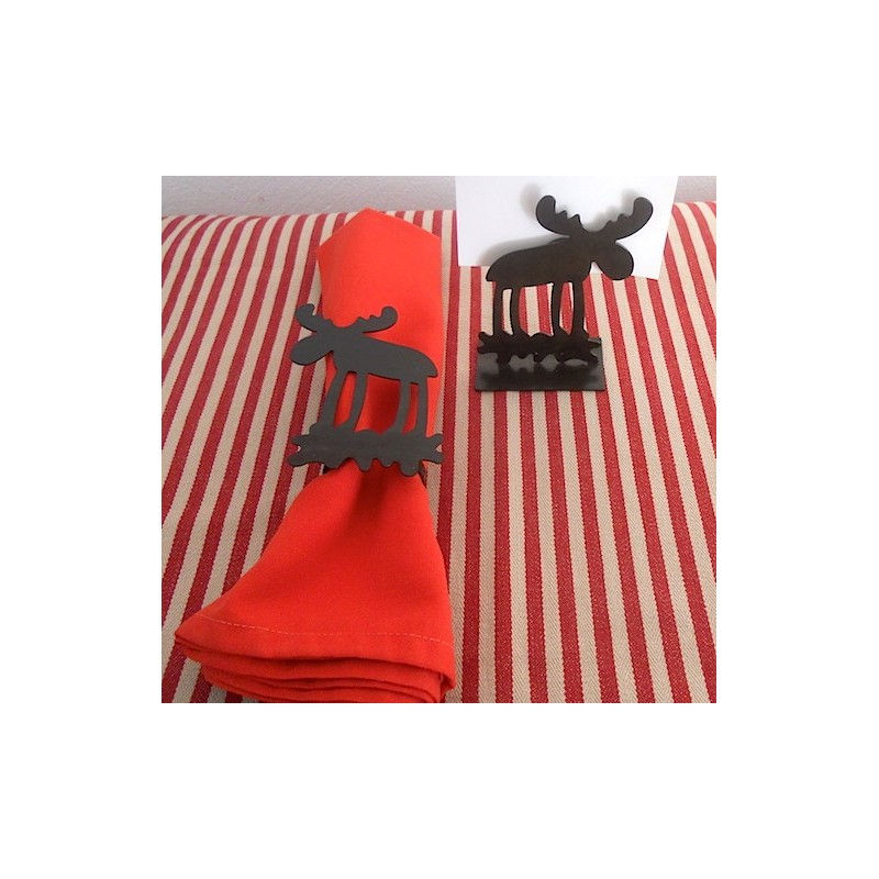 code 032016 / 032017 - Moose napkin ring and matching place card-holder set