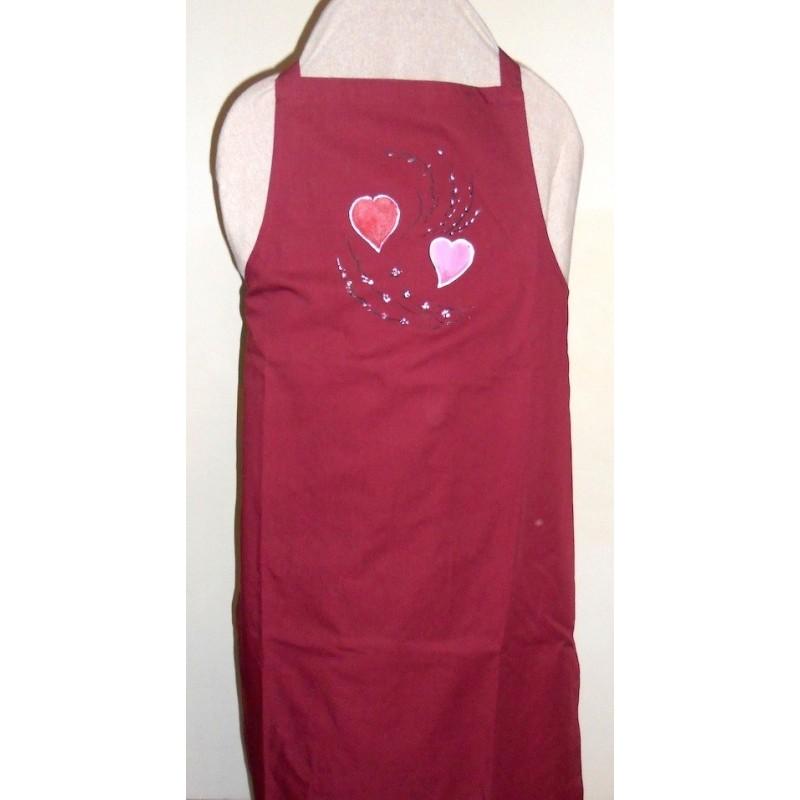 ref. 050426-M-EB-P11 -Avental de peitilho bordeaux - corações com ramos