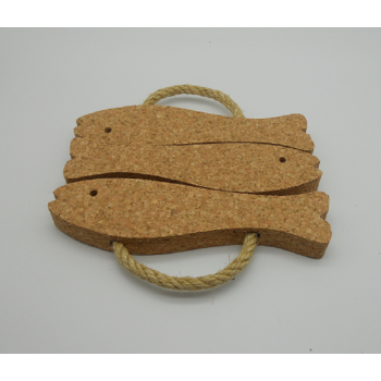 code VK-1228-3-Trivet with rope 3 fishes - Natural