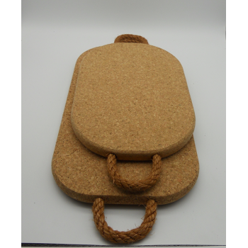 code VK-1213/14- 2 pc rectangular cork trivet with rope set
