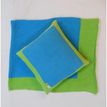 ref.050016-AT-VP- Conjunto manta e capa de almofada em malha de algodão