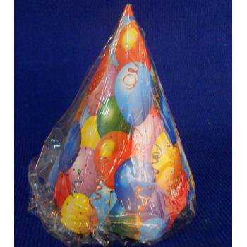ref.073414- Chapéu de papel Balões - conjunto de 8