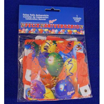 ref.073417 -  Faixa Feliz Aniversário  - Balões